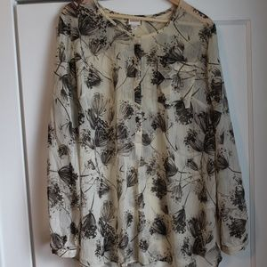 Long Sleeve, Sheer Merona Top, Floral Print, Sz XL
